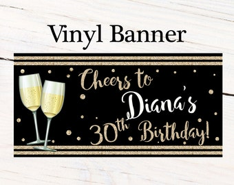Cheers to 30th Photo Banner  ~ Personalized Banner Party Banners - Champagne Glasses Birthday Banner, Printed Banner