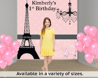 Paris Personalized Photo Backdrop - Sweet 16th Party Backdrop Pink Poodle- Bat Mitzvah Photo Backdrop, Eiffel Tower Photo Backdrop