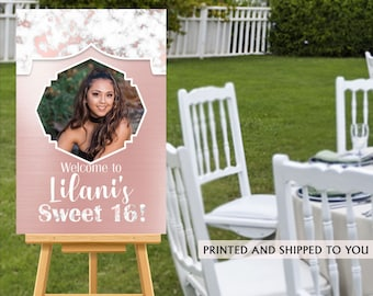 Sweet 16 Birthday Welcome Sign, Pink Marble Party Sign, Welcome to the Party Sign, Foam Board Printed Welcome Sign, Rose Sweet 16 Sign