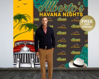 30th Birthday Personalized Photo Backdrop   Havana Nights Photo Backdrop   Cuban Birthday Photo Booth Backdrop   Step and Repeat Backdrop