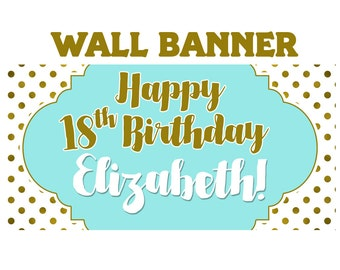 Birthday Gleam Banner  ~ Gold Polka Dots Birthday Personalized Party Banners - 18th Birthday Banner, 21st Birthday Banner, Printed Banner
