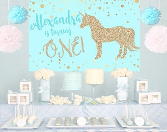 Unicorn Aqua Glitter Personalized Party Backdrop - First Birthday Cake Table Backdrop - Baby Shower Backdrop, Birthday Backdrop, Printed
