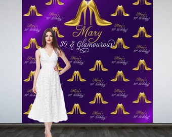 Photo Backdrop Stepping into 30, Step and Repeat Personalized Photo Backdrop- 30th Birthday Photo Booth Backdrop, Gold Heels Backdrop