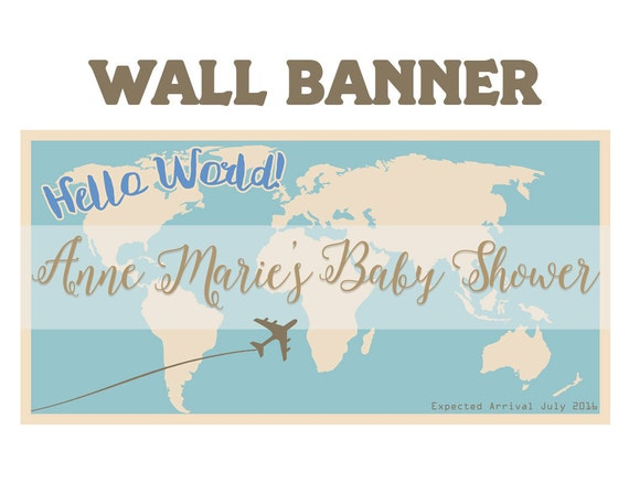 Baby Shower Hello World Welcome Home Banners World Map Etsy