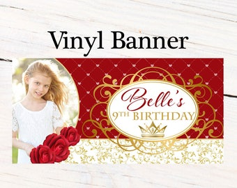 Beauty Princess Banner ~ Personalized Party Banners - Photo First Birthday Banner - Custom Banner - Red Roses Banner, Royal Princess Banner