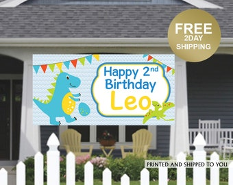 Dinosaur Birthday Banner | Birthday Banner | Kids Birthday Banner | Lawn Banner | Party Banner Decorations | Birthday Yard Sign, Dino Banner