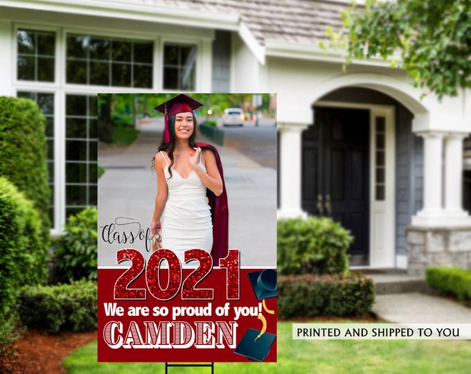 Featured listing image: Class of 2021 Graduation Photo Yard Sign | Grad Party Welcome Sign | Welcome Sign Congrats | Red Graduation Yard Sign | Congrats Grad Sign