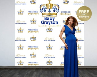 Royal Baby Shower Photo Backdrop | Welcome Little Prince Photo Backdrop | Royal Prince Photo Backdrop | Step and Repeat Backdrop | Prince