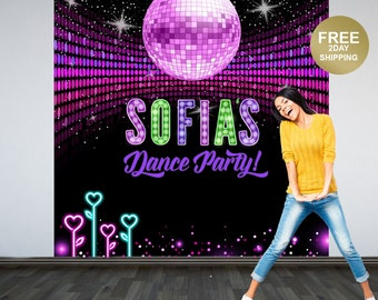 Disco Dance Party Photo Backdrops | Sweet 16 Birthday Party Backdrop | Birthday Backdrop | Disco Ball Backdrop | Printed Vinyl Backdrop