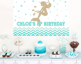 Mermaid Aqua Ombre Personalized Party Backdrop - Little Mermaid Birthday Cake Table Backdrop Birthday- Baby Shower Backdrop