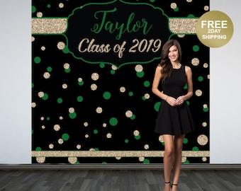 Graduation Photo Backdrop | Congrats Grad Personalized Photo Backdrop | Class of 2019 Photo Backdrop |  Photo Booth Printed Backdrop