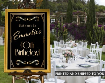 Retro Birthday Welcome Sign - Birthday Gala Sign - Welcom Sign Roaring 20's, Foam Board Welcome Sign, Great Gatsby Welcome Sign