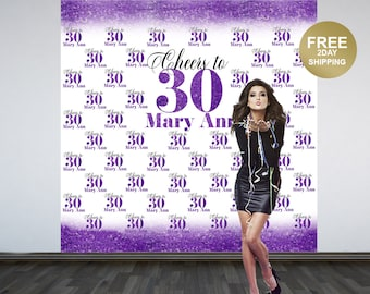 Cheers to 30 Personalized Photo Backdrop | Purple Photo Backdrop | 30th Birthday Backdrop | Printed Photo Booth Backdrop | Birthday Backdrop