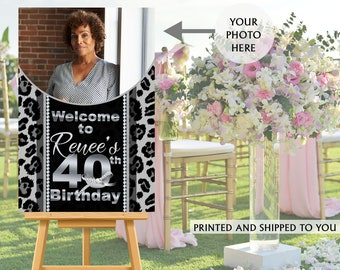40th Birthday Photo Welcome Sign - Welcome to the Party Sign, Cheetah Print Welcome Sign, Foam Board Welcome Sign, Printed Welcome Sign