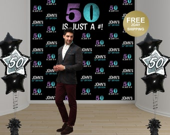 50th Birthday Party Personalized Photo Backdrop | 40th Birthday Photo Backdrop | Photo Booth Backdrop | Step and Repeat Backdrop | Printed