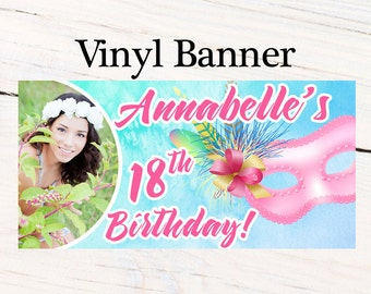 Masquerade Ball Birthday Banner ~ Sweet 16th Birthday Personalized Banner -Watercolor Mask Photo Banner- Custom Banner, 18th Birthday