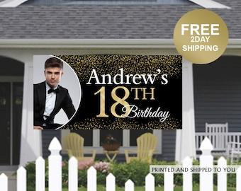 18th Birthday Personalized Banner | Birthday Banner | Birthday Yard Banner | 18th Birthday Party Banner | Photo Banner | Lawn Banner
