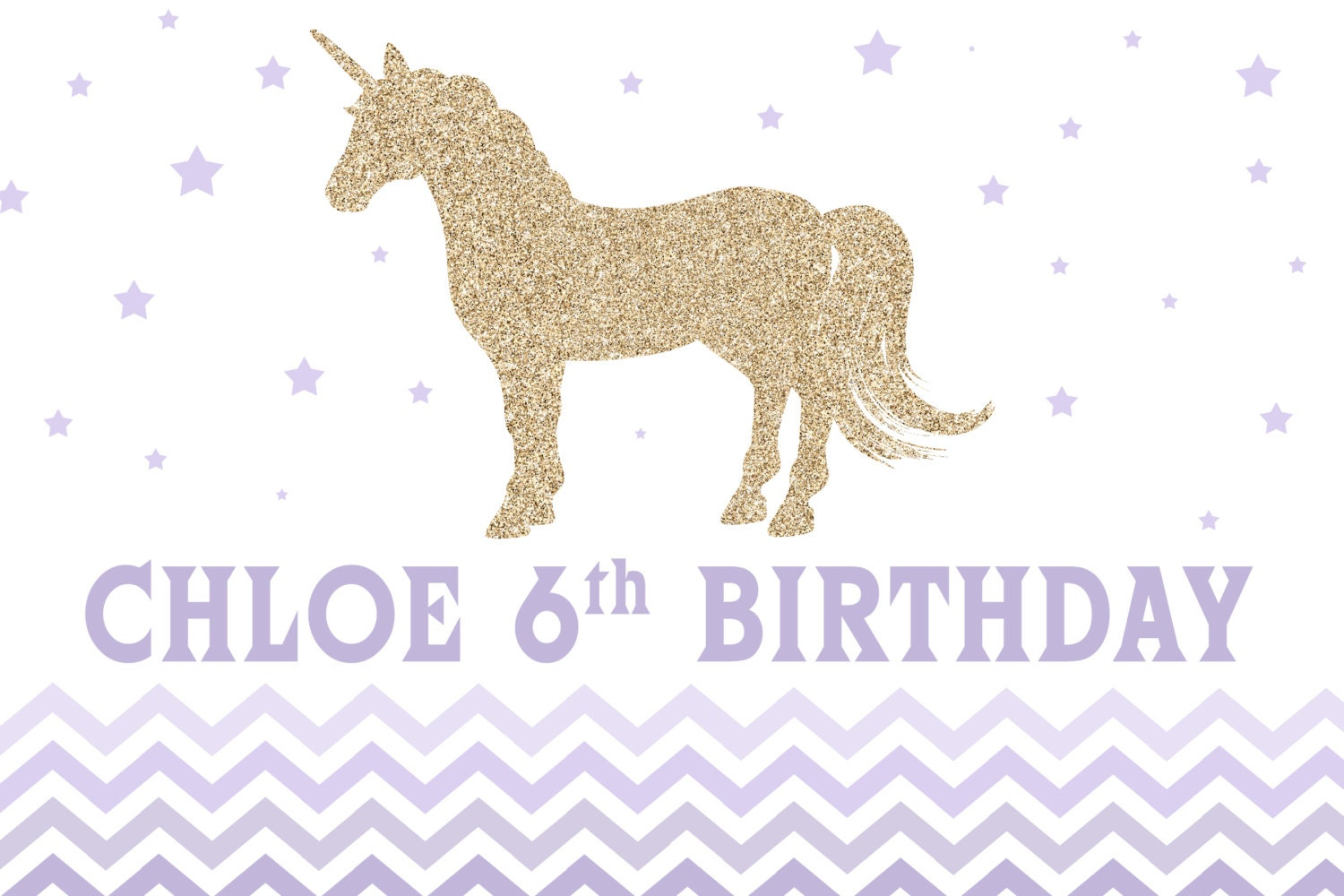Unicorn Purple Ombre Personalized Party Backdrop