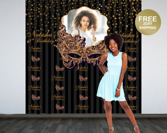 Gold Masquearde Personalized Photo Backdrop   Masquerade Mask Photo Backdrop   Birthday Backdrop   Step and Repeat Backdrop   18th Birthday