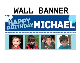 Happy Birthday Photo Banner  ~ Personalize Photo Balloons Party Banners Indoor or Outdoor