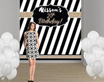 Elegant Birthday Party Personalized Photo Backdrop - Milestone Party Backdrop - Photo Backdrop- Custom Backdrop, Black and White Backdrop