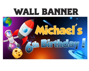 Outer Space Happy Birthday Banner  ~ Astronaut Personalized Party Banners- Space Birthday Banner, Custom Banner, Printed Banner