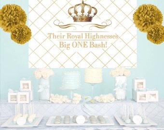 Royal Birthday Bash Personalize Backdrop, Baby Shower Cake Table Backdrop - Birthday Backdrop, Prince Photo Backdrop, Printed Backdrop