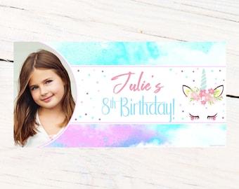 Fantasy Unicorn Photo Banner ~ Personalized Party Banner ~ Unicorn Birthday Banner, Printed Birthday Banner, Vinyl Birthday Banner