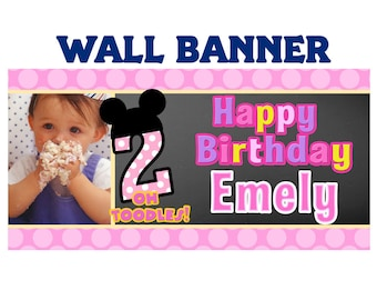 Little Mouse Birthday Banner ~ Personalized Happy Birthday Party Banners, First Birthday Banner