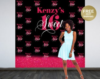 Sweet 16 Personalized Photo Backdrop   Pink & Black Photo Backdrop   16th Birthday Photo Backdrop   21st Printed Photo Booth Backdrop