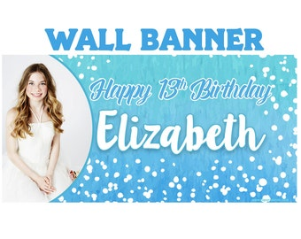 Happy Birthday Photo Banner  ~ Personalized Watercolor Party Banners - 13th Birthday Banner, Custom Party Banner, Birthday Banners