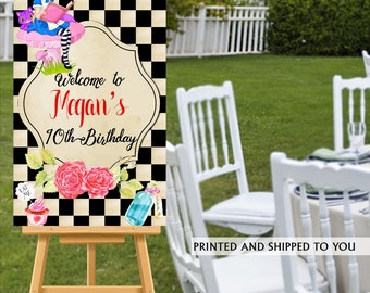 Alice in Wonderland Welcome Sign - Welcome to the Party Sign - Birthday Welcome Sign, Foam Board Welcome Sign, Printed Welcome Sign