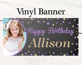 Sparkle Birthday Banner  ~ Happy Birthday Personalized Party Banners- Large Photo Banner, 13th Birthday Banner, Printed Banner