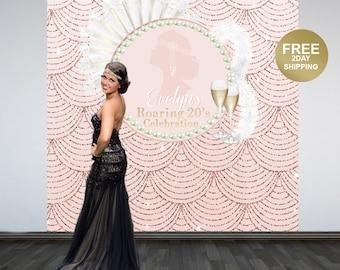 Roaring 20's Backdrop   Art Deco Step & Repeat Backdrop   Birthday Backdrop   Great Gatsby Photo Backdrop   Printed Photo Backdrop