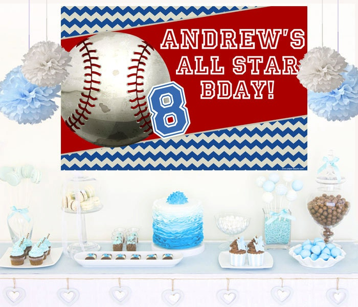 Marvelous Baseball Personalized Backdrop Birthday Cake Table Backdrop Funny Birthday Cards Online Bapapcheapnameinfo
