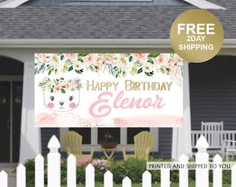 Birthday Kitten Banner ~ Birthday Banner - Photo Birthday Banner, Kitty Birthday Banner, Birthday Yard Banner | Birthday Yard Sign | Cat