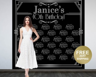 Roaring 20's Party Personalized Photo Backdrop -Art Deco Step and Repeat Photo Backdrop- Birthday Photo Backdrop, Great Gatsby Backdrop