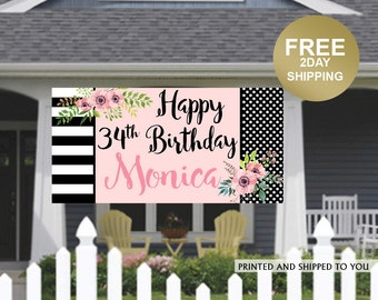 Happy Birthday Banner   Birthday Blush Personalized Party Banners   Large Photo Banner, Printed Vinyl Banner, 30th Birthday Banner, Floral