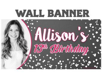 Happy Birthday Photo Banner  ~ Personalized Chalkboard Splash Party Banners - 13th Birthday Banner, Custom Banner, Birthday Banner