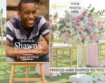 Class Grad Photo Welcome Sign - Graduation Party Welcome Sign - Welcome Sign Congrats, Foam Board Sign, Welcome to the Party Sign,