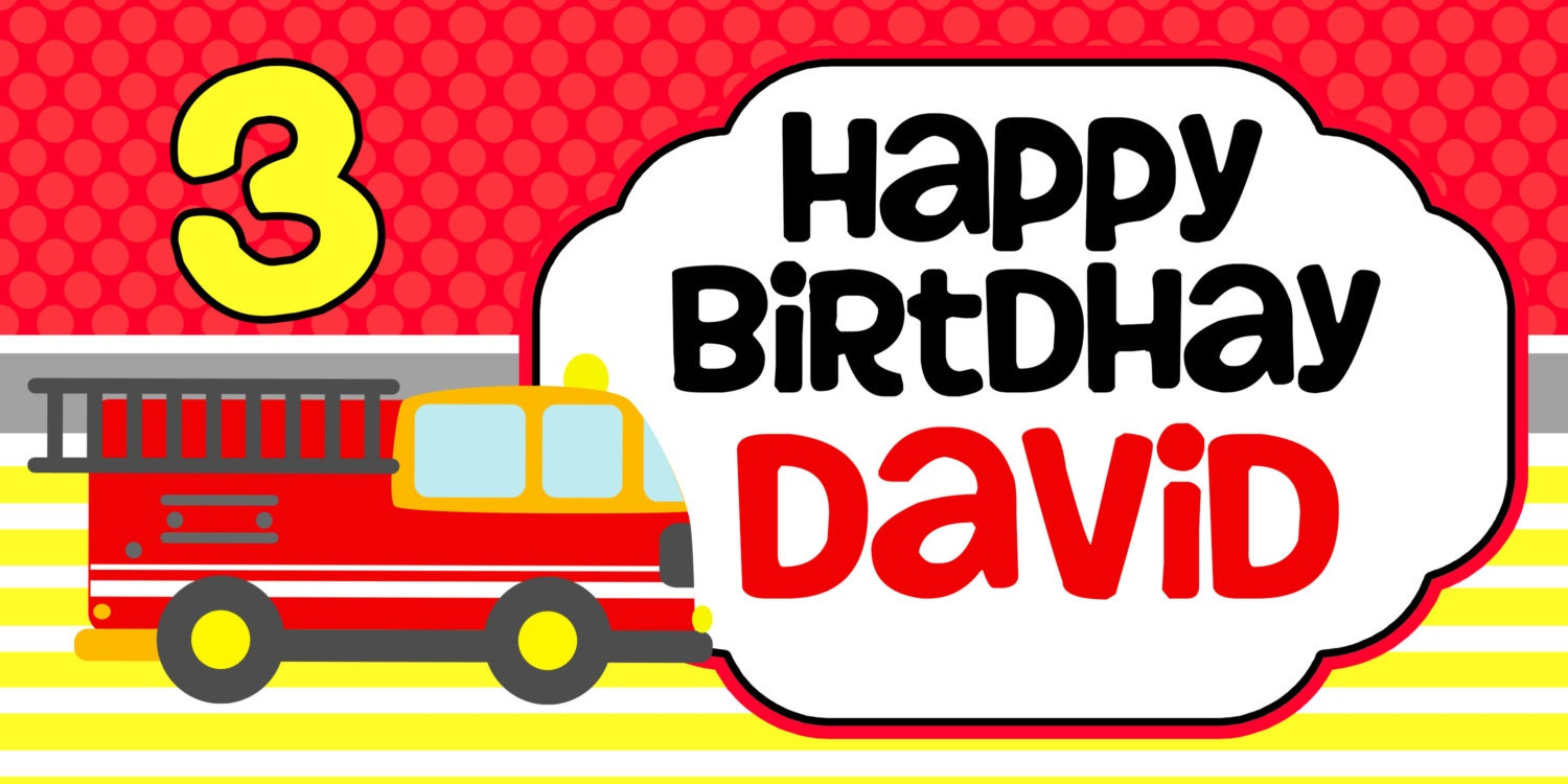 fire truck happy birthday banner personalized firefighter party