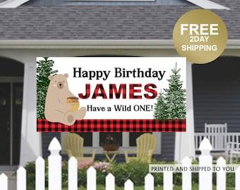 Birthday Banner | Personalized Birthday Banner | Bear Birthday Vinyl Banner | Holiday Birthday Banner | Quarantine Birthday Banner