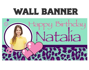 Cheetah Love Party Banner ~ Personalize Party Banners - Tween Birthday Banner, Birthday Banner, Tween Birthday Banner, 13th Birthday