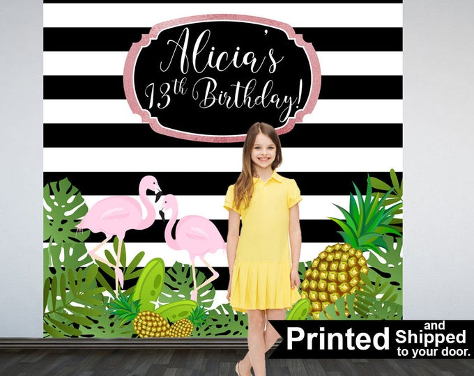 Featured listing image: Tropical Party Personalized Photo Backdrop -Flamingo Photo Backdrop- Summer Sparkle Birthday Party Backdrop - Pineapple Birthday Backdrop