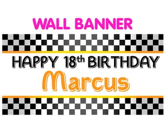 Happy 18th Birthday Banner  ~ Personalized Party Race Car Banners Indoor or Outdoor Checker Pattern, Printed Vinyl Banner, Custom Banner