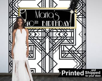 Great Gatsby Party Personalized Photo Backdrop -Roaring 20's Step and Repeat Photo Backdrop- Birthday Photo Booth Backdrop, Black and White