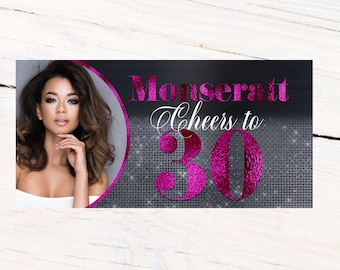 Cheers to 30 Photo Banner ~ Fushia Party Banner - 18th Birthday Banner, 21st Birthday Banner, Printed Vinyl Banner, Birthday Banner