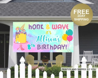 Birthday Yard Banner   Personalized Birthday Banner   HONK and Wave Birthday Banner   Quarantine Birthday Banner, Birthday Lawn Banner