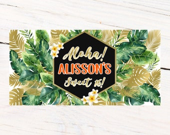 Aloha Party Banner   Personalized Birthday Banner   Printed Vinyl Banner   Custom Banner   Summer Pool Party Banner    Sweet 16 Banner