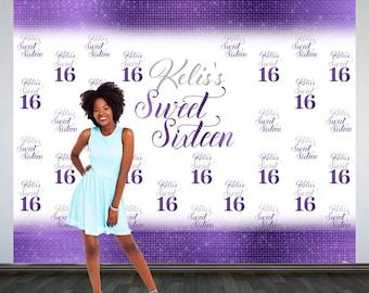 Sweet 16 Personalized Photo Backdrop -Purple 16th Birthday Photo Backdrop- Step and Repeat Photo Backdrop, Silver Sweet 16 Photo Backdrop